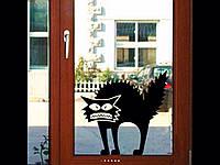 Интерьерная виниловая наклейка на стены, стекла кот 13,5*14.5 см