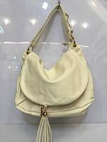 Женская сумка -мешок 466 классическая бежевого цвета