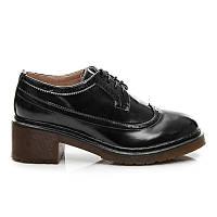 Туфли женские черные на шнуровке на невысоком устойчивом каблуке