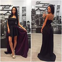 Платье без бретель, с корсетом и съемным шлейфом o-31031208