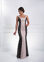 Роскошное вечернее платье с гипюровыми рельефами хорошо подчёркивающее фигуру