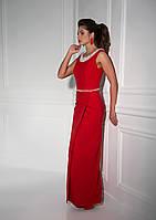 Исключительно яркое вечернее платье с изумительным декольте на спинке украшенное нежными бусинами