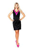 Черное платье офисного стиля с декором из роз 22012