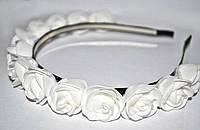 Ободок для украшения волос Белые розы
