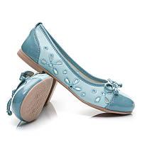 Балетки летние детские голубые на девочку подростка