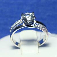 Родированное кольцо серебро с фианитами Вика 4588-р