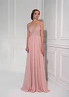 Лёгкое, блестящее вечернее платье с удивительно красивым верхом, прозрачной спинкой, украшенное камнями