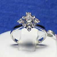Интересное серебряное кольцо Цветок из циркония Лиона 4763-р