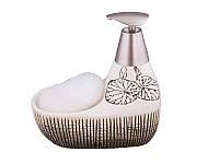 Диспенсер для жидкого мыла керамический с подставкой под губку Молоко 370 мл 755-063