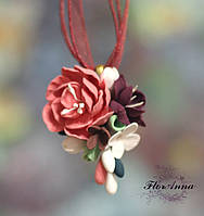 """""""Цветочный ноктюрн"""" кулон/подвеска с цветами ручной работы."""