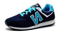 Кроссовки унисекс, синие, бело-бирюзовые вставки, фото 1
