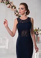 Элегантное вечернее платье с утонченной гипюрной ткани приталенного силуэта, украшенное бисером по срезах