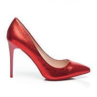 Женские туфли лодочки на шпильке блестящие красные