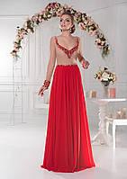 Замечательное вечернее платье с длинными рукавами и красивыми мерцающими камнями