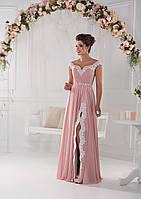 Чудесное вечернее платье спадающее с плеча с изысканной аппликацией и моделирующим корсетом