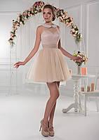 Шикарное вечернее платье в стиле Беби-долл с интересным воротником і утонченной каплей на спинке