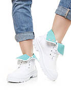 Высокие женские белые кроссовки с голубыми вставками