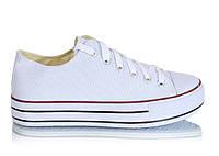 Женские белые кеды на высокой подошве на шнуровке