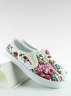 Джинсовые женские мокасины белые с цветочным принтом
