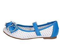 Туфли летние на девочку детские белые с синими вставками