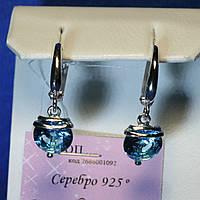 Серебряные серьги подвески с голубым камнем Адель 5220-цв-р