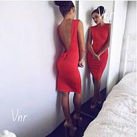 Платье открытая спина, декорировано бантиком