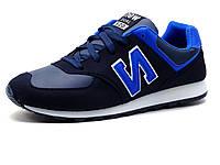 Кроссовки мужские, синие, голубые и белые элементы, фото 1