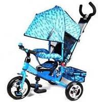 Велосипед трехколесный М 5361-1 синий с НАДУВНЫМИ колесами. TURBO Trike.