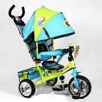 Детский трехколесный велосипед MM 0156-01 MM, три колеса EVA Foam голуб-зел, усиленная двойная ручка