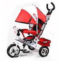 Детский трехколесный велосипед PROFI TURBO M5361-02UKR Бело-красный, резиновые, надувные колёса.