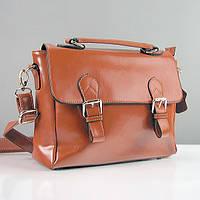 Сумка-портфель средняя кожаная женская коричневая 8120
