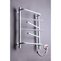 Полотенцесушитель электрический для ванной комнаты Элна-6 поворотная (белая) с торцевым терморегулятором