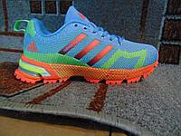 Женские беговые кроссовки Adidas Marathon Flyknit голубые