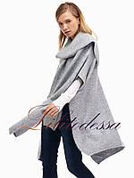 Кардиган женский с воротом-шарфом светло-серый