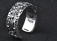 Мужское серебряное кольцо Крест и Лилия Chrome Hearts