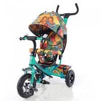 Детский трехколесный НАДУВНЫЕ КОЛЕСА велосипед TILLY Trike Бабочка T-351-7 Air Бирюзовый