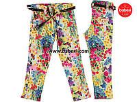 Брюки-джинсы Цветы для девочки 8, 12 лет