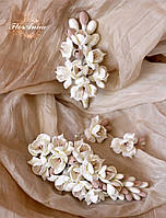 """""""Топлёное молоко""""(заколка+серьги+бутоньерка) авторские свадебные украшения ручной работы для невесты"""
