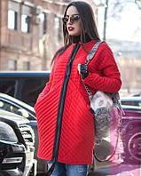Удлинённая стёганая  куртка на замке красная