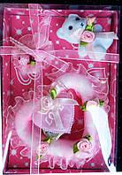 """Сувенир-подарок """"Мишка с сердцем и розой"""" , розовый"""
