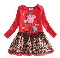 Детское красное платье с леопардовым принтом