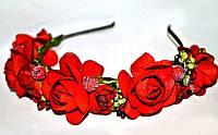 Обруч на голову Красные цветы