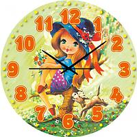 Часы настенные Девушка в шляпе Детская серия МДФ круг 25 см