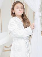 Детский махровый халат для девочки с кружевом Марипоза от Guddini на 9-11 лет