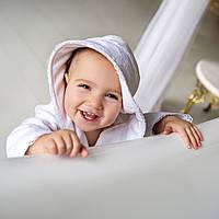 Детский махровый халат для девочки с кружевом Марипоза от Guddini  от 12 до 24 месяцев кремовый