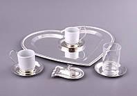 """Кофейный набор """"Сердце"""" 8 предметов (поднос, 2 чашки, сахарница, стакан для воды, 3 блюдца)"""