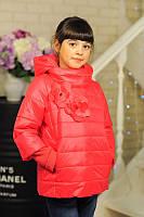 Модная  куртка для девочки весна ''Цветки'',коралловая