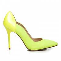 Женские комбинированные туфли фигурные желтые