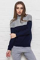 Теплый вязаный двухцветный женский свитер