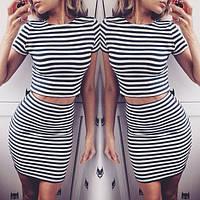 Молодежный полосатый костюм стиль морячка топ+юбка